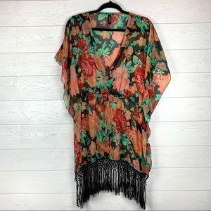 LINDEX Floral Fringe Sheer Boho Tunic Top One Size